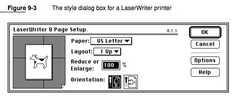 The Apple LaserWriter Print Dialog Box