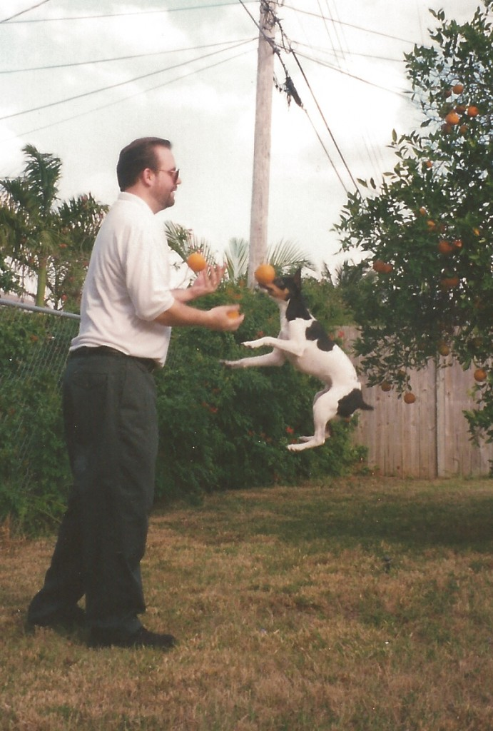 Chester Jumping while I'm juggling