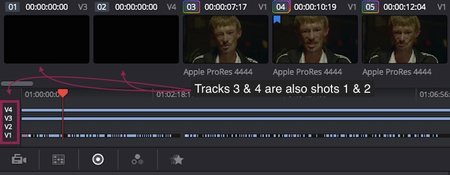 All tracks active in the Color Page of DaVinci Resolve 12
