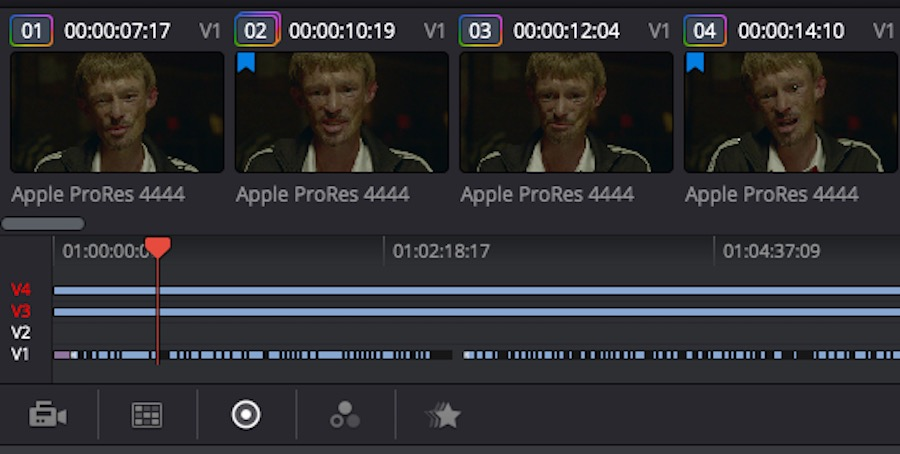 Two tracks are ignored for timeline navigation in DaVinci Resolve 12