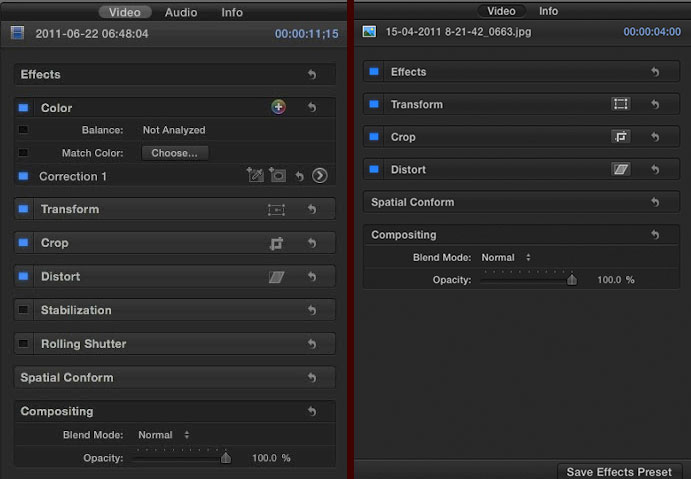 The FCP X Inspector before and after the 10.2 Update
