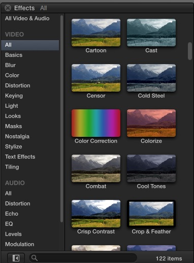 The Final Cut X 10.2 Effects List
