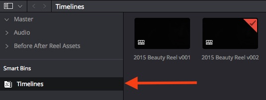 The automatically generated 'Timelines Smart Bin' in DaVinci Resolve 12