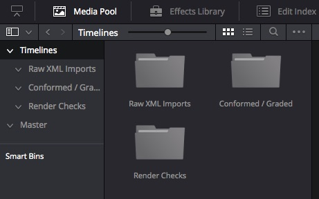 Timelines folders in DaVinci Resolve 12